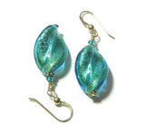 Venetian Aqua Twist Gold Earrings, Custom Made Murano Glass Jewelry JKC Murano