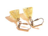 Murano Glass Clear Gold Triangle Gold Earrings, Leverback Earrings JKC Murano