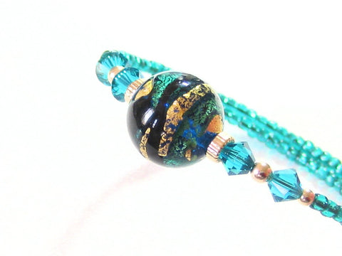 Murano Glass Aqua Black Gold Bangle Bracelet JKC Murano