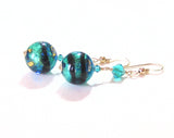 Murano Glass Aqua Black Ball Dangle Gold Earrings - JKC Murano