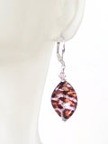 Italian Glass Leopard Twist Sparkle Sterling Silver Earrings - JKC Murano