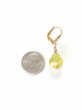 Venetian Glass Lime Green Ball Gold Earrings, Custom Murano Jewelry JKC Murano