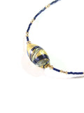 Murano Glass Navy Blue Beaded Gold Necklace, Venetian Jewelry JKC Murano