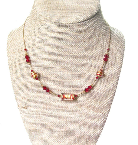0ad5a1339173 Murano Glass Red Illusion Gold Necklace