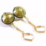 Murano Glass Olive Disc Dangle Gold Earrings, Leverback Earrings JKC Murano