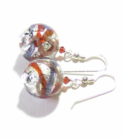 Murano Glass Plum Red Silver Earrings, Venetian Jewelry, Sterling Silver Leverback Earrings JKC Murano