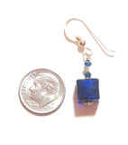 Murano Glass Cobalt Blue Cube Gold Earrings JKC Murano
