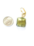 Murano Glass Olive Green Square Gold Earrings, Leverback Earrings - JKC Murano