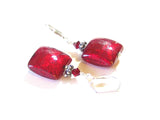 Murano Glass Red Square Sterling Silver Earrings, Venetian Jewelry JKC Murano