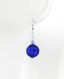 Murano Glass Cobalt Blue Coin Silver Earrings JKC Murano