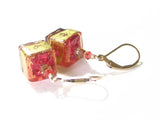 Murano Glass Pink Brown Cube Gold Earrings, Gold Filled Leverbacks JKC Murano