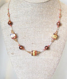 Murano Glass Pink Brown Cube Gold Necklace, Illusion Necklace JKC Murano