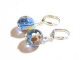 Murano Glass Blue Gold Copper Ball Silver Earrings, Leverback Earrings JKC Murano