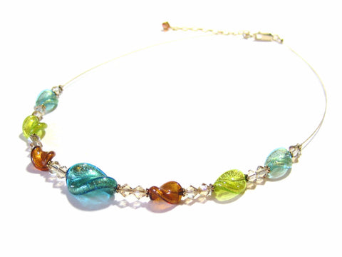 Murano Glass Colorful Twist Fall Colors Gold Necklace - JKC Murano - 1