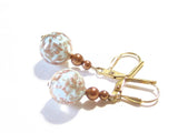 Venetian Glass Aquamarine Copper Ball Gold Earrings, Italian Jewelry JKC Murano