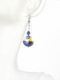 Murano Glass Plum Gold Silver Earrings, Venetian Jewelry JKC Murano