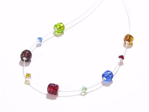 Murano Glass Small Twist Colorful Illusion Silver Necklace - JKC Murano