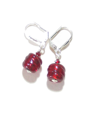 Genuine Murano Glass Small Red Barrel Twist Silver Earrings JKC Murano