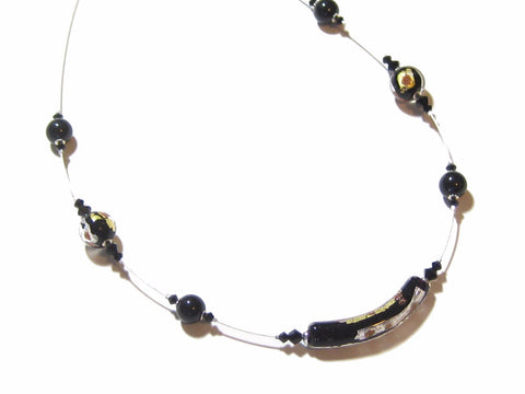 Murano Glass Black Gold Tube Sterling Silver Necklace, Illusion Necklace - JKC Murano