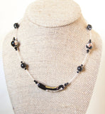 Murano Glass Black Gold Tube Sterling Silver Necklace, Illusion Necklace JKC Murano