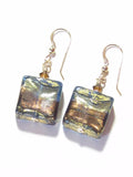 Murano Glass Brown Olive Green Square Chunky Gold Earrings - JKC Murano