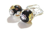 Murano Glass Black Silver Ball Gold Earrings, Italian Jewelry, Dangle Clip Ons JKC Murano