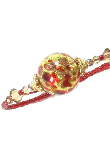 Murano Glass Red Gold Copper Ball Bangle Bracelet JKC Murano