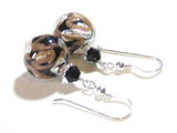 Murano Glass Black Copper Ball Silver Earrings JKC Murano