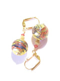 Murano Glass Salmon Pink Blue Gold Earrings, Leverback Earrings JKC Murano