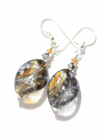 Murano Glass Paisley Black Sparkle Twist Silver Earrings JKC Murano