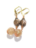 Venetian Glass Copper Dangle Ball Gold Earrings, Leverback Earrings JKC Murano