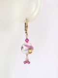 Murano Glass Pink White Ball Dangle Gold Earrings, Leverback Earrings JKC Murano