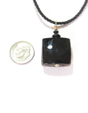 Murano Glass Black Coral Copper Square Pendant JKC Murano