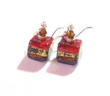 Murano Glass Red Brown Cube Gold Earrings, Venetian Jewelry, Dangle Clip Ons JKC Murano