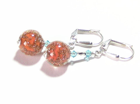 Venetian Glass Coral Turquoise Silver Earrings, Murano Glass Jewelry JKC Murano
