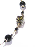 Murano Glass Black Cube Beaded Gold Necklace, Venetian Jewelry JKC Murano