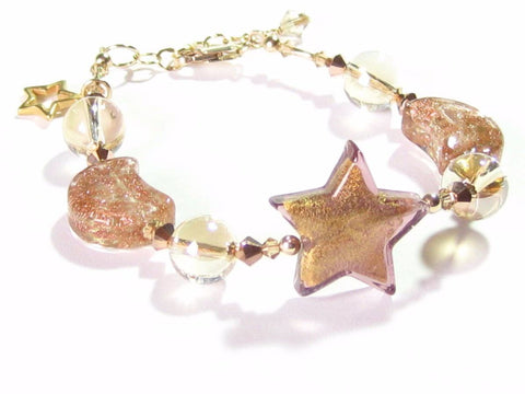 Murano Glass Star Copper Moon Gold Bracelet JKC Murano