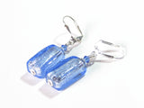 Murano Glass Blue Rectangle Silver Earrings JKC Murano