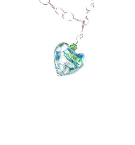 Murano Glass Blue Green Heart Charm, Venetian Italian Glass Jewelry, Pendant JKC Murano