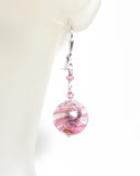 Venetian Glass Pink Ball Sterling Silver Earrings, Murano Italian Jewelry JKC Murano