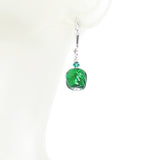 Small Murano Glass Emerald Green Twist Dangle Silver Earrings, Venetian Jewelry JKC Murano
