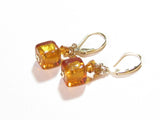Murano Glass Topaz Cube Gold Earrings, Gold Filled Leverbacks JKC Murano
