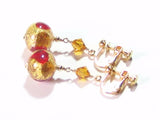 Murano Glass Red Topaz Gold Earrings, Clip On Ball Dangle Earrings JKC Murano