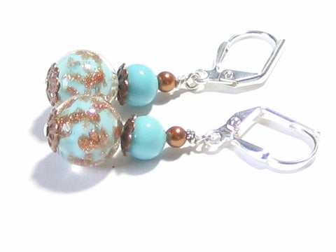 Genuine Murano Glass Turquoise Copper Ball Silver Earrings JKC Murano