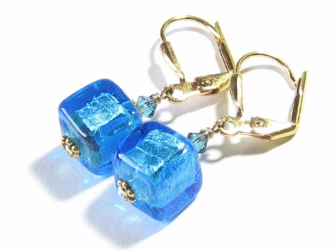 Murano Glass Aqua Cube Gold Earrings, Gold Leverback Earrings JKC Murano