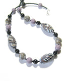 Murano Glass Zebra Black lavender Beaded Silver Necklace JKC Murano