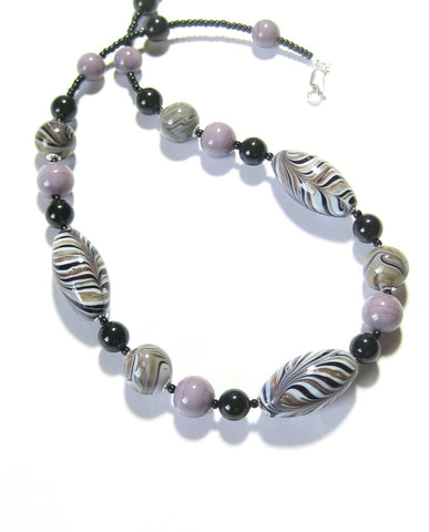 Murano Glass Zebra Black lavender Beaded Silver Necklace - JKC Murano