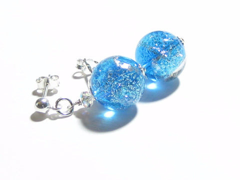 Murano Glass Aqua Dichroic Ball Dangle Silver Earrings JKC Murano