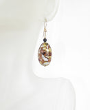 Murano Glass Black Oval Dangle Gold Earrings, Leverback Earrings - JKC Murano