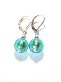 Murano Glass Light Aqua Ball Gold Earrings, Gold Filled Leverback Earrings, - JKC Murano